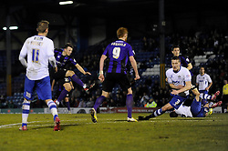 Bristol Rovers' Ollie Clarke scores a goal to make it 1 - 1 - Photo mandatory by-line: Dougie Allward/JMP - Mobile: 07966 386802 01/04/2014 - SPORT - FOOTBALL - Bury - Gigg Lane - Bury v Bristol Rovers - Sky Bet League Two