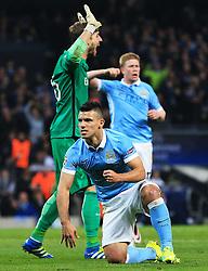 Sergio Aguero of Manchester City celebrates after winning a penalty as Kevin Trapp of PSG appeals - Mandatory byline: Matt McNulty/JMP - 07966386802 - 12/04/2016 - FOOTBALL - Etihad Stadium -Manchester,England - Manchester City v Paris Saint-Germain - UEFA Champions League - Quarter Final Second Leg