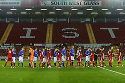 The teams exchange handshakes before kick off - Photo mandatory by-line: Rogan Thomson/JMP - Tel: Mobile: 07966 386802 - 04/12/2012 - SPORT - FOOTBALL - Ashton Gate Stadium - Bristol. Bristol City U18 v Ipswich Town U18 - FA Youth Cup Third Round Proper.