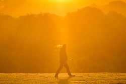 © Licensed to London News Pictures. 22/10/2018. Leeds UK. A dog walker at sunrise this morning at Temple Newsam park in Leeds this morning on a sunny start to the day in Yorkshire. Photo credit: Andrew McCaren/LNP