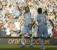 Photo: Aidan Ellis.<br /> Manchester City v West Ham United. The Barclays Premiership. 23/09/2006.<br /> City's Georguos Samaras celebrates the first goal with team mate Bernardo Corrardi