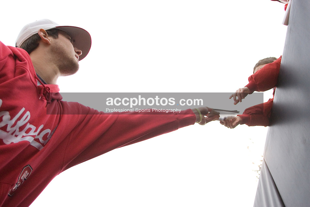 17 February 2007: North Carolina State Wolfpack RHP Andrew Brackman (40) signs autographs for fans after a 8-0 victory over the Gardner-Webb Bull Dogs at Doak Field in Raleigh, NC.