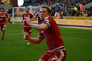 Middlesbrough midfielder Grant Leadbitter celebrates his goal during the Sky Bet Championship match between Wolverhampton Wanderers and Middlesbrough at Molineux, Wolverhampton, England on 24 October 2015. Photo by Alan Franklin.