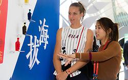 October 2, 2018 - Beijing, China - Karolina Pliskova of the Czech Republic visits a sponsor booth at the 2018 China Open WTA Premier Mandatory tennis tournament (Credit Image: © AFP7 via ZUMA Wire)