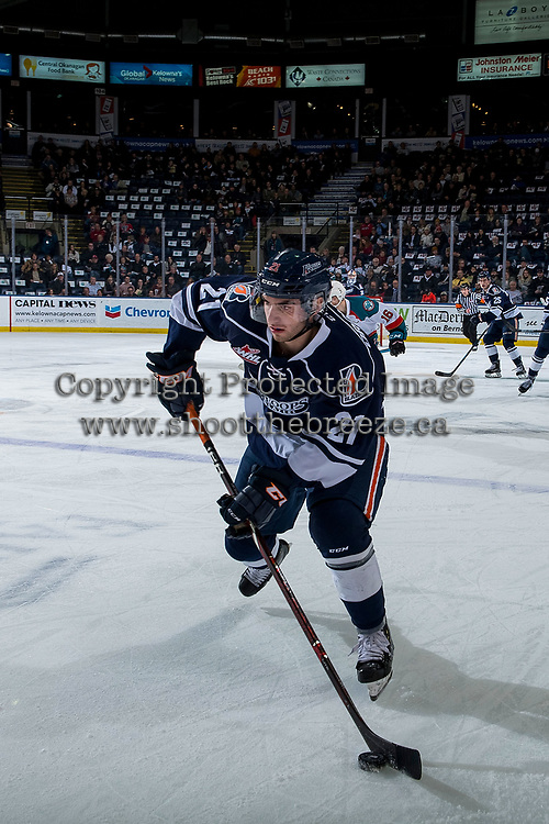 KELOWNA, BC - FEBRUARY 02:  Jerzy Orchard #21 of the Kamloops Blazers skates with the puck against the Kelowna Rockets at Prospera Place on February 2, 2019 in Kelowna, Canada. (Photo by Marissa Baecker/Getty Images)