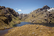 Landscape with view of Lake Harris surrounded by mountains, Routeburn Track, South Island, New Zealand
