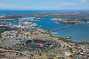 Aloha Stadium and Ford Island, Pearl Harbor, Oahu, Hawaii