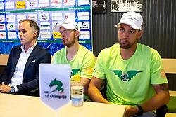Joze Kovac, Jure Sotlar and Ziga Pance at press conference of HK SZ Olimpija before new season 2020-21, on June 22, 2020 in Hala Tivoli, Ljubljana, Slovenia. Photo by Matic Klansek Velej / Sportida