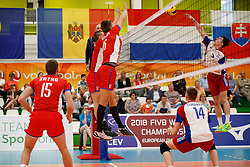 20170524 NED: 2018 FIVB Volleyball World Championship qualification, Koog aan de Zaan<br />Matej Patak (12), Radoslav Presinsky (16) of Slovakia, Arnaud Maroldt (5) of Luxembourg<br />©2017-FotoHoogendoorn.nl / Pim Waslander