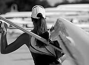 Plovdiv BULGARIA. 2017 FISA. Rowing World U23 Championships. <br /> Athlete Carrying Her Boat.<br /> Friday Boat Area. Boat Racks Pontoons.<br /> <br /> 08:31:57  Friday  21.07.17   <br /> <br /> [Mandatory Credit. Peter SPURRIER/Intersport Images].