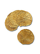 Mycenaean Gold circular buttons from Grave IV, Grave Circle A, Myenae, Greece. National Archaeological Museum Athens. 16th Cent BC. White Background. .<br /> <br /> If you prefer to buy from our ALAMY PHOTO LIBRARY  Collection visit : https://www.alamy.com/portfolio/paul-williams-funkystock/mycenaean-art-artefacts.html . Type -   Athens    - into the LOWER SEARCH WITHIN GALLERY box. Refine search by adding background colour, place, museum etc<br /> <br /> Visit our MYCENAEN ART PHOTO COLLECTIONS for more photos to download  as wall art prints https://funkystock.photoshelter.com/gallery-collection/Pictures-Images-of-Ancient-Mycenaean-Art-Artefacts-Archaeology-Sites/C0000xRC5WLQcbhQ