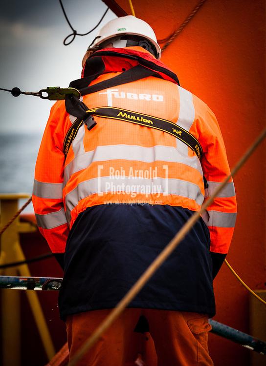 Fugro Survey B.V. conduct streamer deployment aboard the MV Aurelia on a UHR seismic and UXO survey for DONG Energy