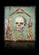 """Roman mosaic of a skull called """"Mimento Mori"""" from Pompeii, inv 100982, Naples National Archeological Museum, Black background.<br /> <br /> If you prefer to buy from our ALAMY PHOTO LIBRARY  Collection visit : https://www.alamy.com/portfolio/paul-williams-funkystock/roman-mosaic.html - Type -   Naples    - into the LOWER SEARCH WITHIN GALLERY box. Refine search by adding background colour, place, museum etc<br /> <br /> Visit our ROMAN MOSAIC PHOTO COLLECTIONS for more photos to download  as wall art prints https://funkystock.photoshelter.com/gallery-collection/Roman-Mosaics-Art-Pictures-Images/C0000LcfNel7FpLI"""