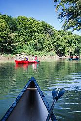 Canoers on Trinity River through Great Trinity Forest, Dallas, Texas, USA