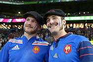 two French fans looking on. Rugby World Cup 2015 pool D match, France v Italy at Twickenham Stadium in London on Saturday 19th September 2015.<br /> pic by John Patrick Fletcher, Andrew Orchard sports photography.