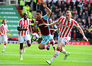 Johnathan Calleri of West Ham is tackled by Ryan Shawcross of Stoke city. Premier league match, Stoke City v West Ham Utd at the Bet365 Stadium in Stoke on Trent, Staffs on Saturday 29th April 2017.<br /> pic by Bradley Collyer, Andrew Orchard sports photography.