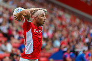 Charlton Athletic midfielder Chris Solly (20) takes a throw in during the EFL Sky Bet League 1 match between Charlton Athletic and Shrewsbury Town at The Valley, London, England on 11 August 2018.