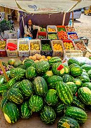 Watermeolns for sale in a fruit and vegetable market in Tagounite, Morocco<br /> <br /> (c) Andrew Wilson | Edinburgh Elite media