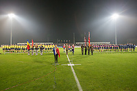 Soprano, Felicia Filip, sing the Romanian national anthem before the rugby test match between Romania and USA, on National Stadium Arc de Triomphe in Bucharest, November 8, 2014. Romania lose the match against USA, final score 17-27.