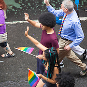 New York LGBT Pride Parade 2015, corner of Christopher Street and Gay Street, West Village Dante de Blasio, Chiara de Blasio, Bill de Blasio, New York City mayor