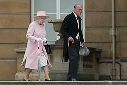 May 16, 2017 - London, London, United Kingdom - Image ©Licensed to i-Images Picture Agency. 16/05/2017. London, United Kingdom. The Queen and Duke of Edinburgh  at a Garden party at Buckingham Palace in London. Picture by ROTA  / i-Images UK OUT FOR 28 DAYS (Credit Image: © Rota/i-Images via ZUMA Press)
