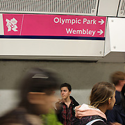 Olympic venue signage giving directions to Olympic evens in the London underground tube stations.  London 2012 Olympic games, UK. 15th July 2012. Photo Tim Clayton