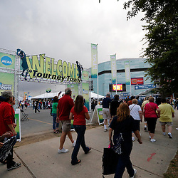 Apr 9, 2013; New Orleans, LA, USA; Fans walk outside the New Orleans Arena before the championship game in the 2013 NCAA womens Final Four between the Louisville Cardinals and the Connecticut Huskies. Mandatory Credit: Derick E. Hingle-USA TODAY Sports