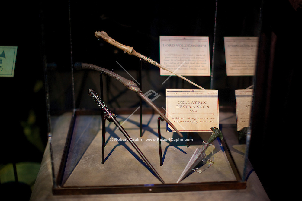 """Magic wands at the """"Harry Potter"""" exhibition at Discovery Times in New York. ..Photo by Robert Caplin."""