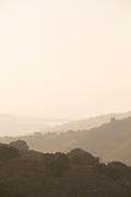 Summer rural landscape at foggy sunset, Lesbos, Greece