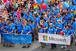 United States, Washington, Seattle Gay Pride Parade, June 28th, 2015. Contingent of Microsoft employees marching.
