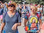 Crossing the bridge into the Arena - The 2018 Latitude Festival, Henham Park. Suffolk 13 July 2018