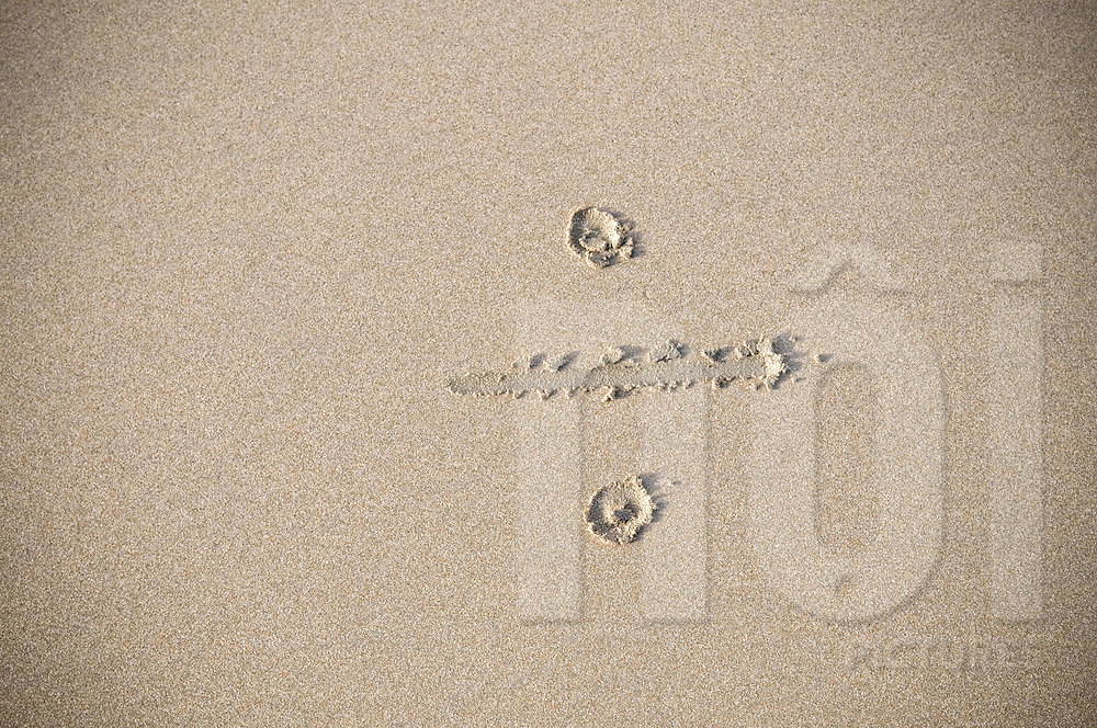 Division sign drawn on the sand of a beach, Vietnam, Southeast Asia