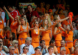 05-06-2010 VOETBAL: NEDERLAND - HONGARIJE: AMSTERDAM<br /> Nederland wint met 6-1 van Hongarije / Oranje publiek support Bavaria girls<br /> ©2010-WWW.FOTOHOOGENDOORN.NL