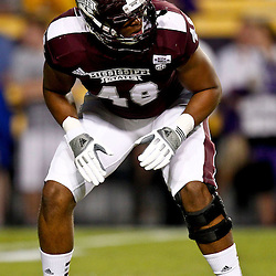 November 10, 2012; Baton Rouge, LA, USA;  Mississippi State Bulldogs defensive lineman Ryan Brown (48) against the LSU Tigers prior to kickoff of a game at Tiger Stadium.  Mandatory Credit: Derick E. Hingle-US PRESSWIRE