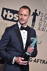 Alexander Skarsgard, winner of the award for Outstanding Performance by a Male Actor in a Television Movie or Miniseries for 'Big Little Lies', poses in the press room during the 24th Annual Screen Actors Guild Awards at The Shrine Auditorium on January 21, 2018 in Los Angeles, CA, USA. Photo by Lionel Hahn/ABACAPRESS.com