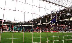 Southampton's James Ward-Prowse (left, hidden) scores his side's second goal of the game