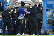 Jose Mourinho, the Manchester United manager talking to Willian of Chelsea before k/o. Premier league match, Chelsea v Manchester Utd at Stamford Bridge in London on Sunday 23rd October 2016.<br /> pic by John Patrick Fletcher, Andrew Orchard sports photography.