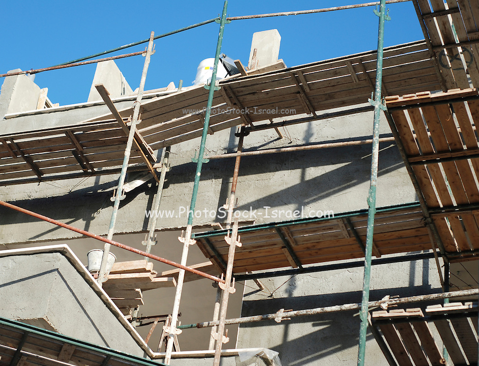 Construction scaffolds erected on a building