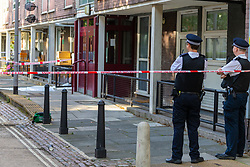 The crime scene at Munster Square in Camden where a 16 year-old teenager was stabbed to death. London, August 13 2019.