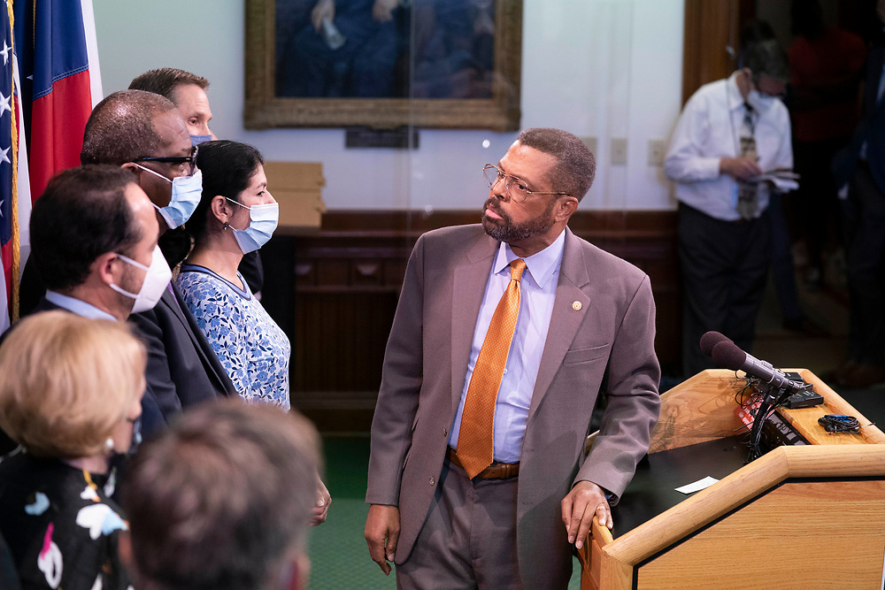 State Sen. Borris Miles, D-Houston, joins nine Texas Democratic senators who supported their House quorum-busting colleagues in Washington, D. C. as they return to the Texas Capitol and explained their opposition to voting bills in the special session on July 21, 2021.