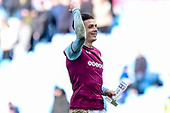 """Aston Villa midfielder Jack Grealish (10) with his """"Skybet"""" man of the match trophy during the EFL Sky Bet Championship match between Aston Villa and Birmingham City at Villa Park, Birmingham, England on 11 February 2018. Picture by Dennis Goodwin."""