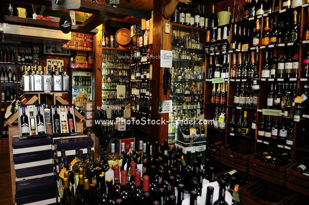 Israel, Tel Aviv, wine shop sells wine, foods and ingredients