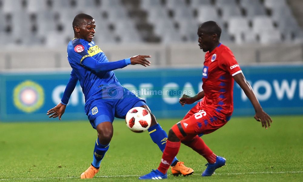 Cape Town-180804 Cape Town City defender Thami Mkhize challenged by Aubrey Modiba of Supersport in the first game of the 2018/2019 season at Cape Town Stadium.photograph:Phando Jikelo/African News Agency/ANAr
