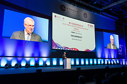 © Licensed to London News Pictures. 22/10/2019. London, UK. HRH The DUKE OF YORK makes a keynote speech at the 15th World Chinese Entrepreneurs Convention held at the Excel venue. Photo credit: Ray Tang/LNP