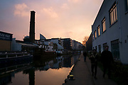 Sunset on Regent's Canal in East London, England, United Kingdom. Regent's Canal is a canal across an area just north of central London seen here as it passes through Islington. (photo by Mike Kemp/In Pictures via Getty Images)