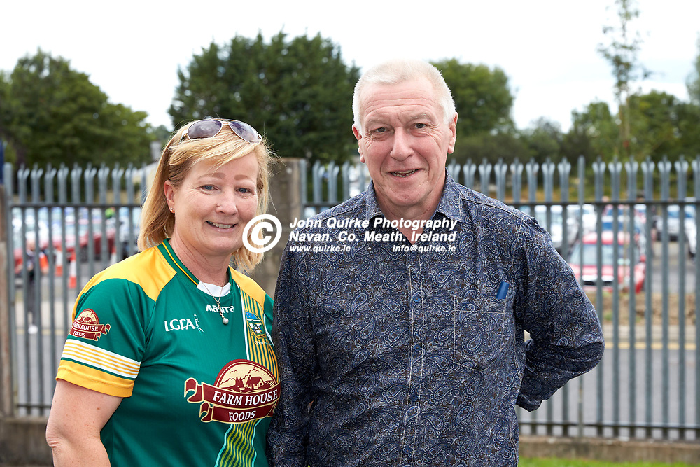 01-08-21, All Ireland Ladies SFC quarterfinal at Clones<br /> Meath v Armagh<br /> Meath supporters pictured at the game: Nora & John Lally (Athboy)<br /> Photo: David Mullen / www.quirke.ie ©John Quirke Photography, Proudstown Road Navan. Co. Meath. 046-9079044 / 087-2579454.<br /> ISO: 200; Shutter: 1/250; Aperture: 7.1;