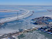 Nederland, Noord-Holland, Gemeente Amsterdam, 13-02-2021; winterlandschap, zicht op IJburg en IJmeer, Enneus Heermabrug in de voorgrond.<br /> Winter landscape, Amsterdam IJburg.<br /> luchtfoto (toeslag op standaard tarieven);<br /> aerial photo (additional fee required)<br /> copyright © 2021 foto/photo Siebe Swart