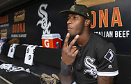 CHICAGO - MAY 18:  Tim Anderson #7 of the Chicago White Sox looks on from the dugout prior to the game against the Toronto Blue Jays on May 18, 2019 at Guaranteed Rate Field in Chicago, Illinois.  (Photo by Ron Vesely)  Subject:  Tim Anderson