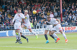 Dundee's Jack Hendry scoring their goal. Dundee 1 v 2 Ross County, Scottish Premiership game played 5/8/2017 at Dundee's home ground Dens Park.