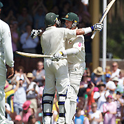 Peter Siddle congratulates Michael Hussey on his century  during the Australia V Pakistan 2nd Cricket Test match at the Sydney Cricket Ground, Sydney, Australia, 6 January 2010. Photo Tim Clayton